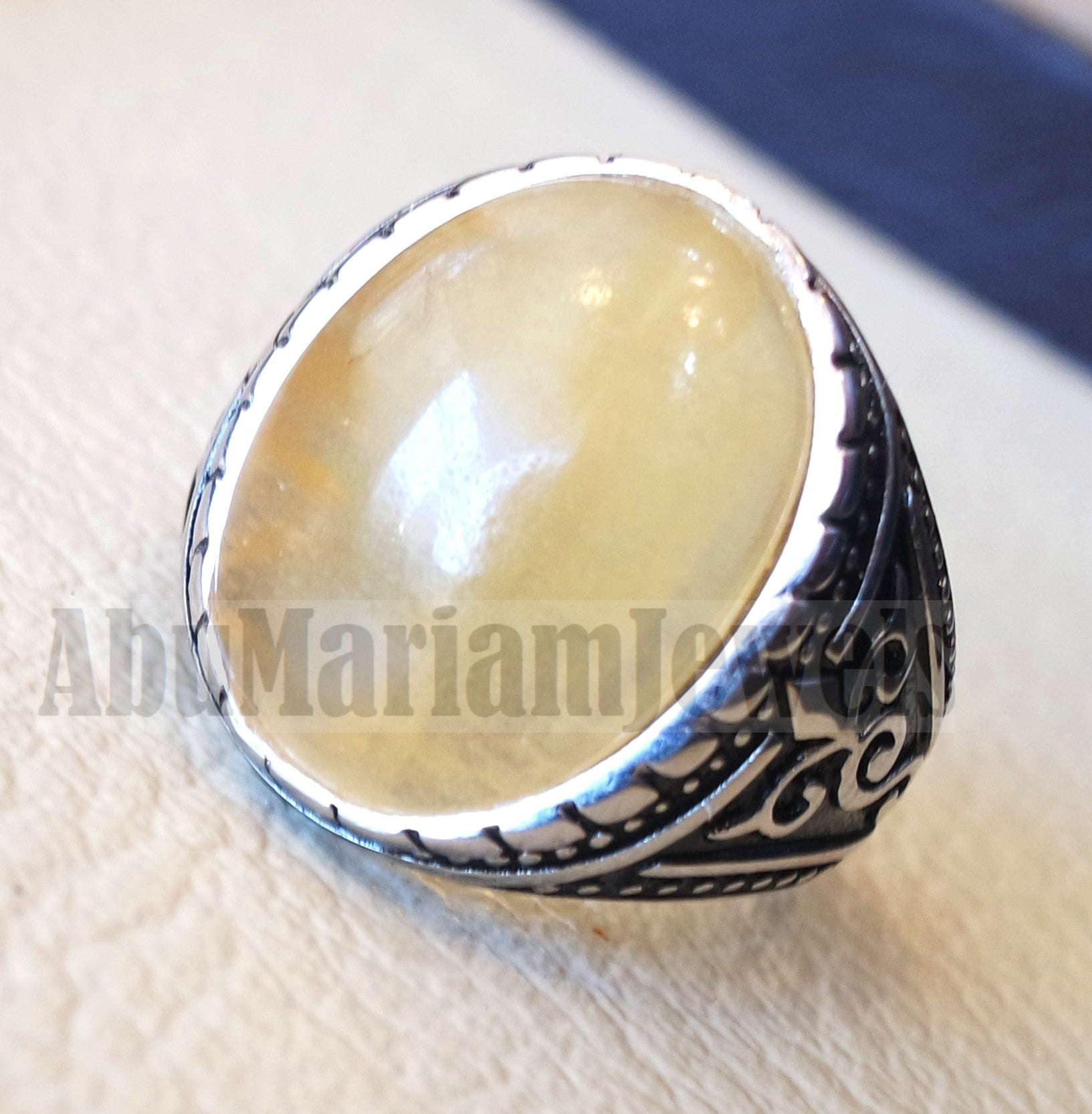 natural yellow fluorite men ring sterling silver 925 unique stone all sizes jewelry fast shipping oxidized ottoman style