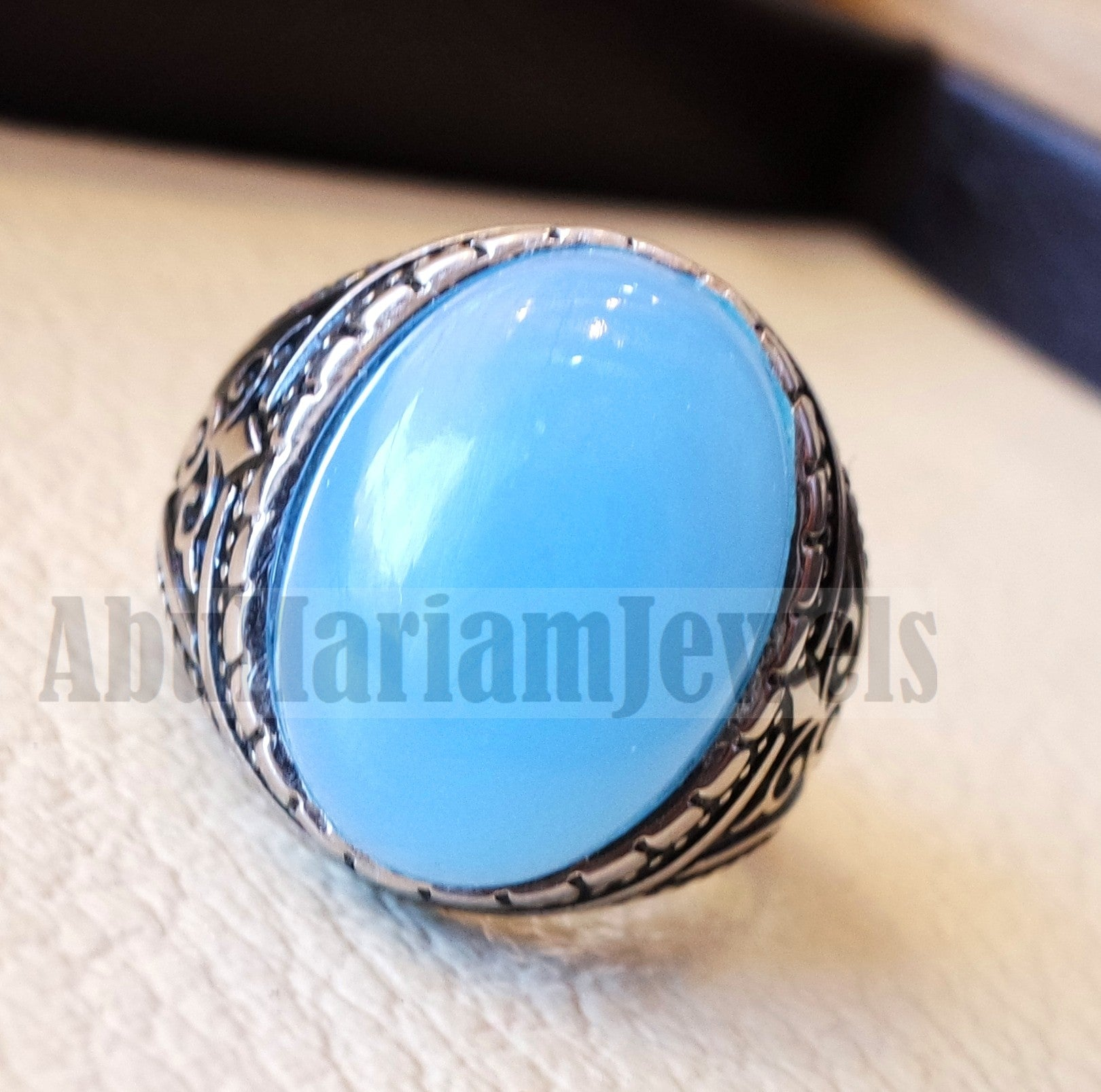 Blue Chalcedony men ring natural stone sterling silver 925 vintage turkish style all sizes jewelry fast shipping عقيق