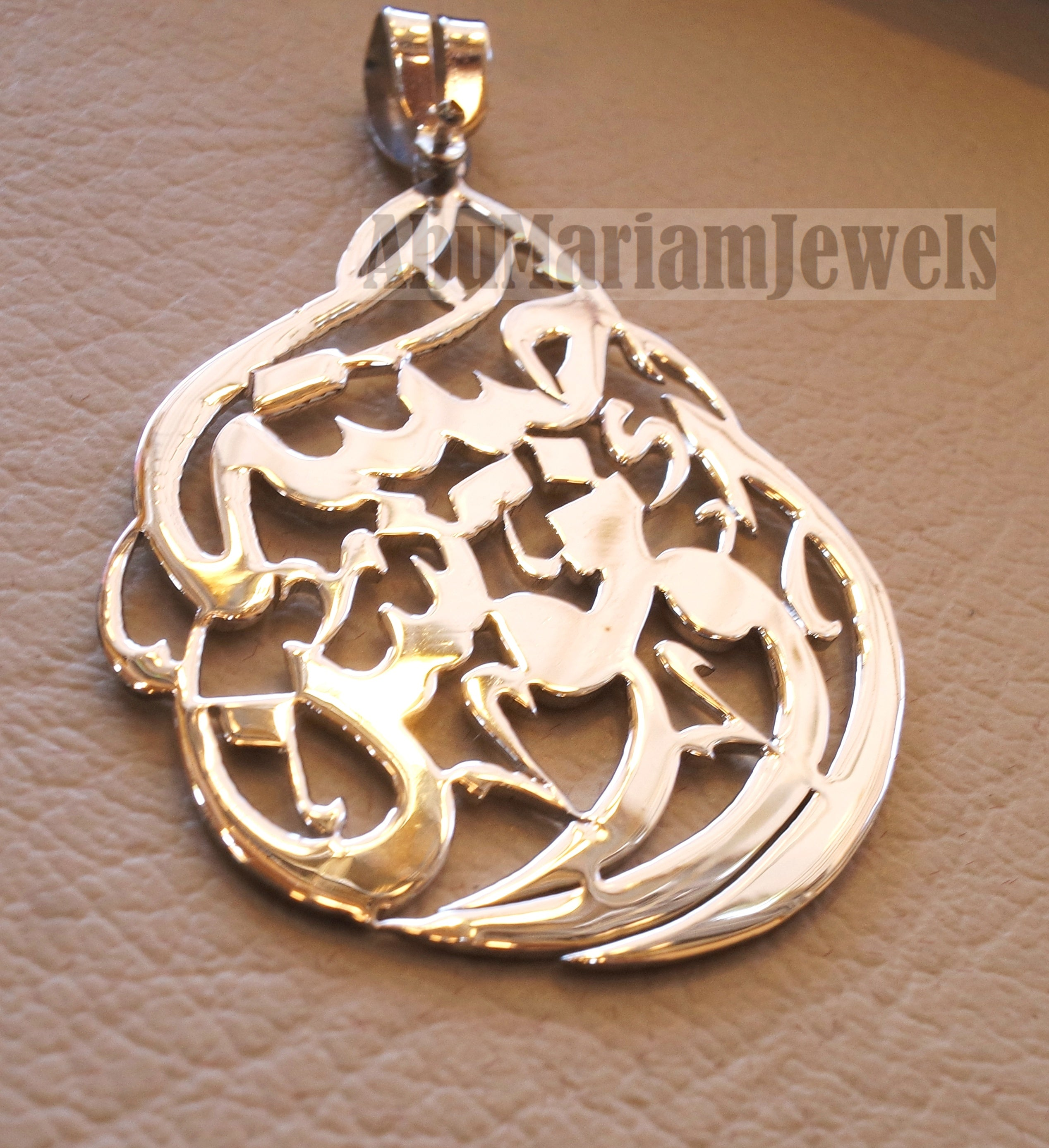 Arabic calligraphy customized name sterling silver 925 high quality polishing pendant with thick chain any two names big size any shape  اسماء عربي