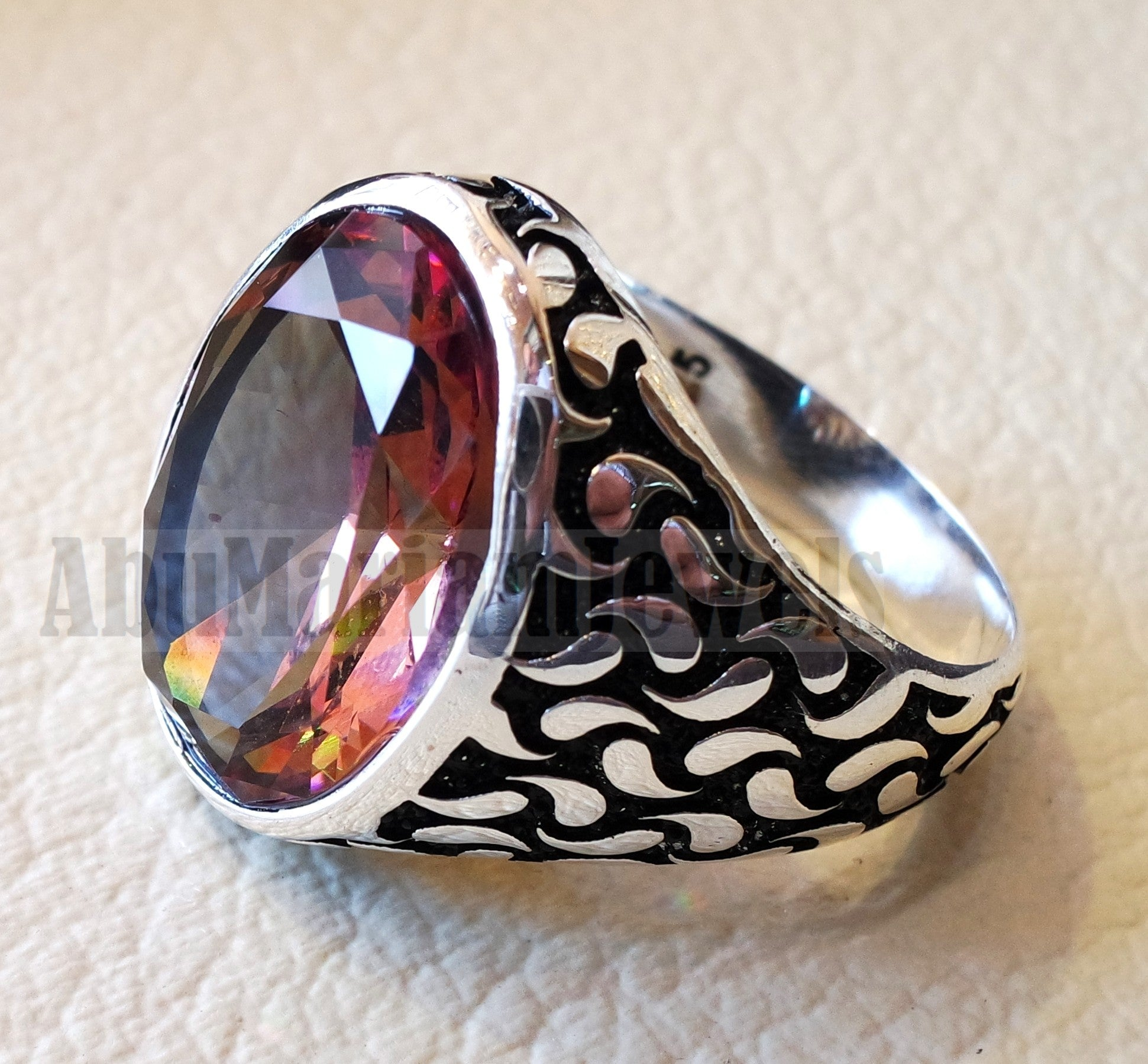 Zultanite oval natural changing color rare gem in sterling silver 925 Diaspore men ring cut stone all sizes  Zu-002