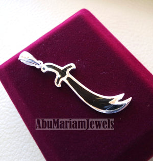 sword pendant big size sterling silver 925 and black enamel handmade Zo Alfaqar Saif express fast shipping with gift jewelry box