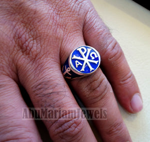 Chi Rho anchor on the sides cross christ christian symbol sterling silver 925 with dark blue enamel man round ring jewelry fast shipping
