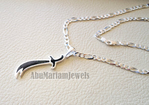 sword necklace with thick chain big size sterling silver 925 and black enamel handmade Zo Alfaqar Saif express fast shipping with gift jewelry box