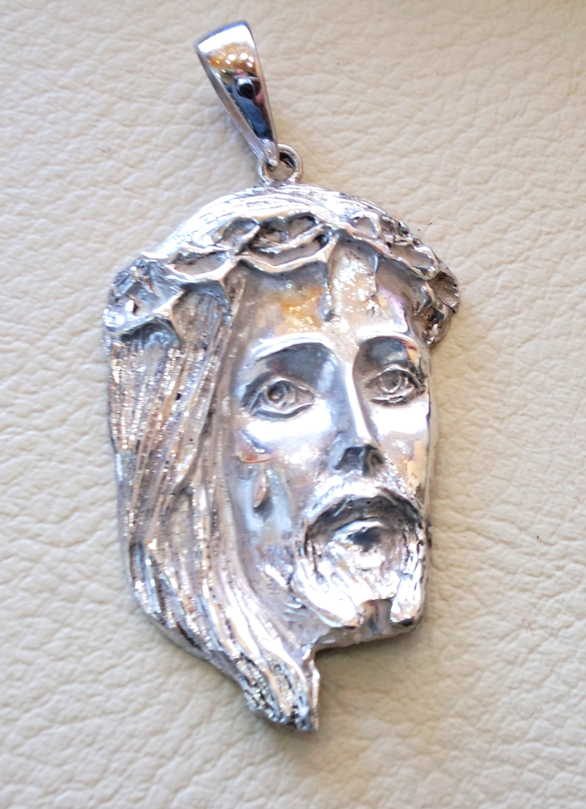 Jesus Christ face head huge pendant and chain sterling silver 925 middle eastern jewelry christianity vintage handmade heavy fast shipping