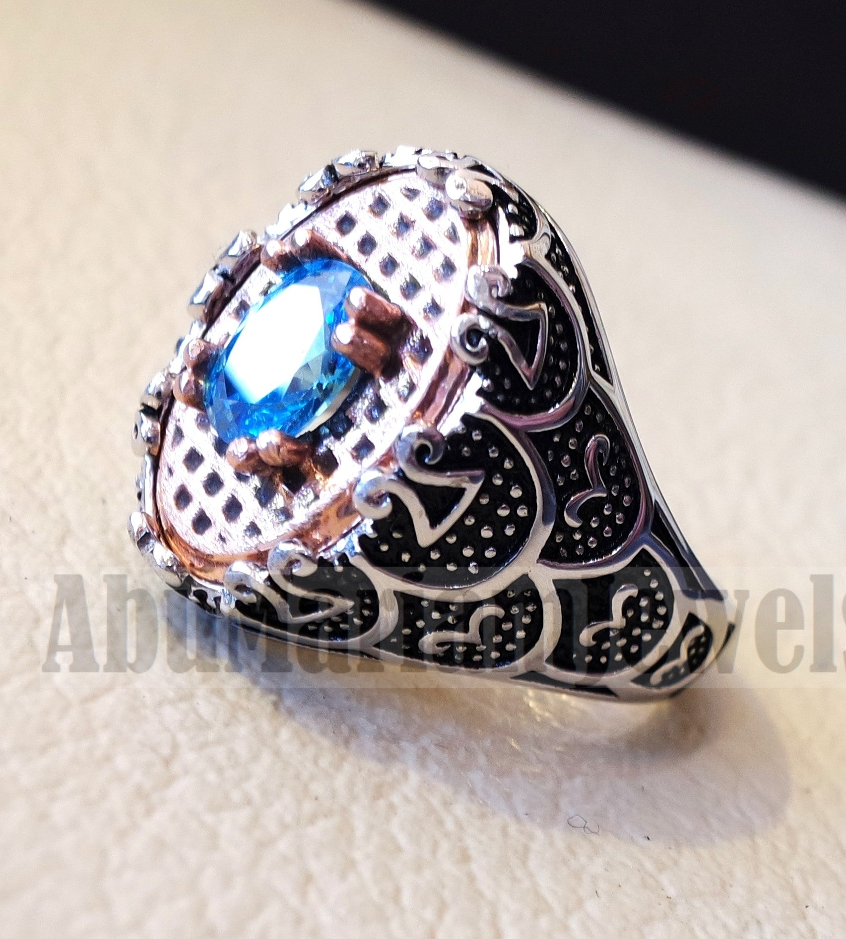 deep vivid sky blue cubic zirconia oval stone highest quality stone sterling silver 925 men ring and bronze frame all sizes jewelry Br103