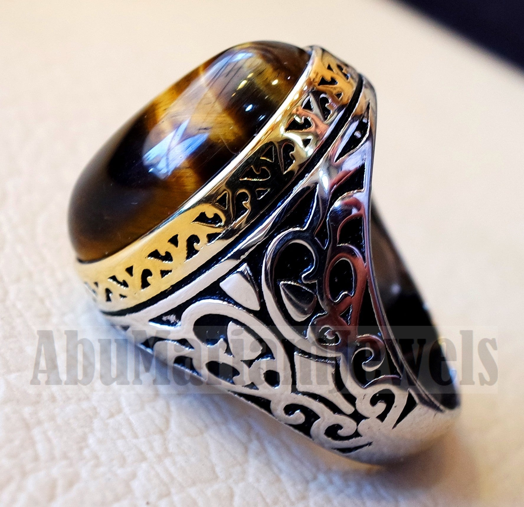 Tiger eye men ring sterling silver 925 cat eye 14 k plated frame natural stone any size ottoman turkish middle eastern arabic jewelry