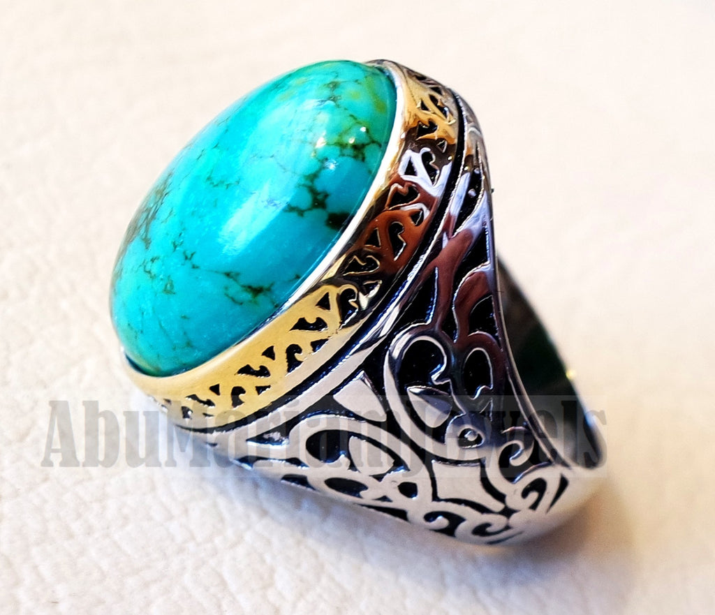 man ring nishapur tibet turquoise blue natural high quality stone sterling silver 925 and gold plated frame gem middle eastern style