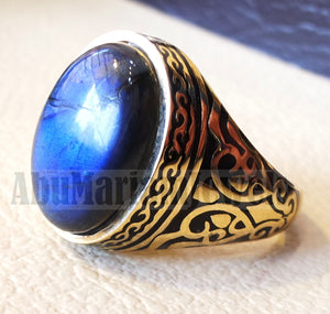 18k gold men ring Labradorite cabochon high quality flashy blue natural stone all sizes Ottoman signet style fine jewelry fast shipping