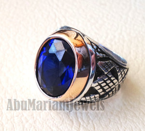 men ring spinel corundum stone identical to genuine sapphire gem sterling silver 925 bronze frame huge gemstone any size jewelry