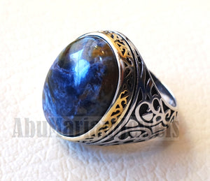 man ring pietersite natural stunning tempest stone sterling silver 925 14k gold plated frame oval cabochon multi color all sizes jewelry