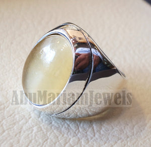 natural yellow fluorite heavy men ring sterling silver 925 unique stone all sizes jewelry fast shipping style