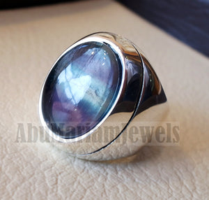 natural multi color fluorite purple blue green huge men ring sterling silver 925 unique stone all sizes jewelry fast shipping style