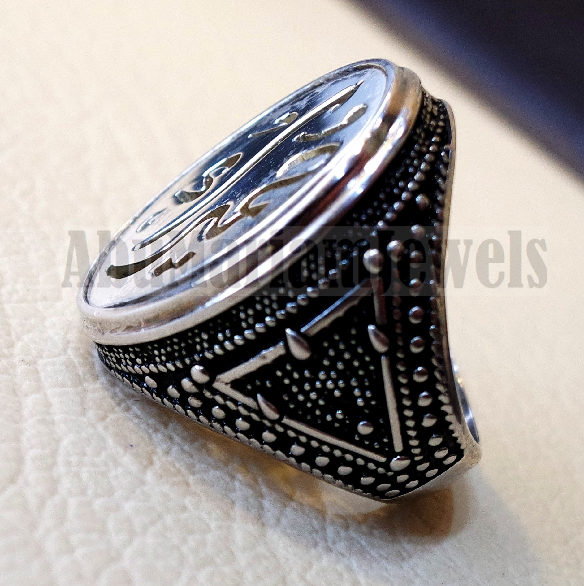 Customized Arabic calligraphy names handmade ring personalized antique jewelry style sterling silver 925 any size TSN1010 خاتم اسم تفصيل