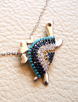 Turtle necklace sterling silver 925 multi color blue turquoise yellow white cubic zirconia high quality polish