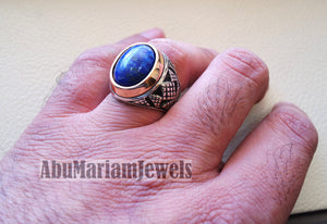 lapis lazuli oval cabochon natural blue stone ring bronze and sterling silver 925 men jewelry all sizes 16 * 12 mm ottoman middle eastern