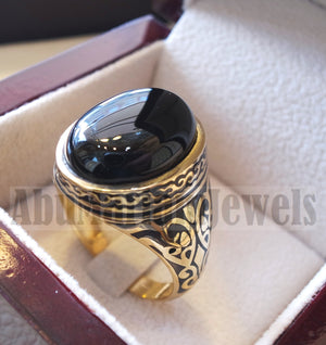 18k gold men ring black onyx cabochon high quality natural stone all sizes Ottoman signet style fine jewelry fast shipping