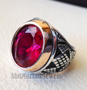 ruby identical synthetic stone high quality imitation corundum red color 16 x 12 men ring sterling silver 925 all sizes bronze frame jewelry