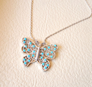 Butterfly necklace sterling silver 925 nano turquoise cubic zircon stones high quality chain