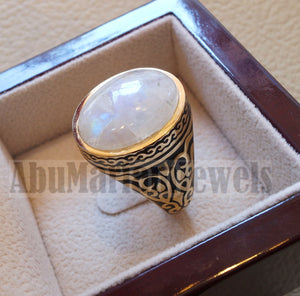 18k gold men ring moonstone cabochon high quality flashy white natural stone all sizes Ottoman signet style fine jewelry fast shipping