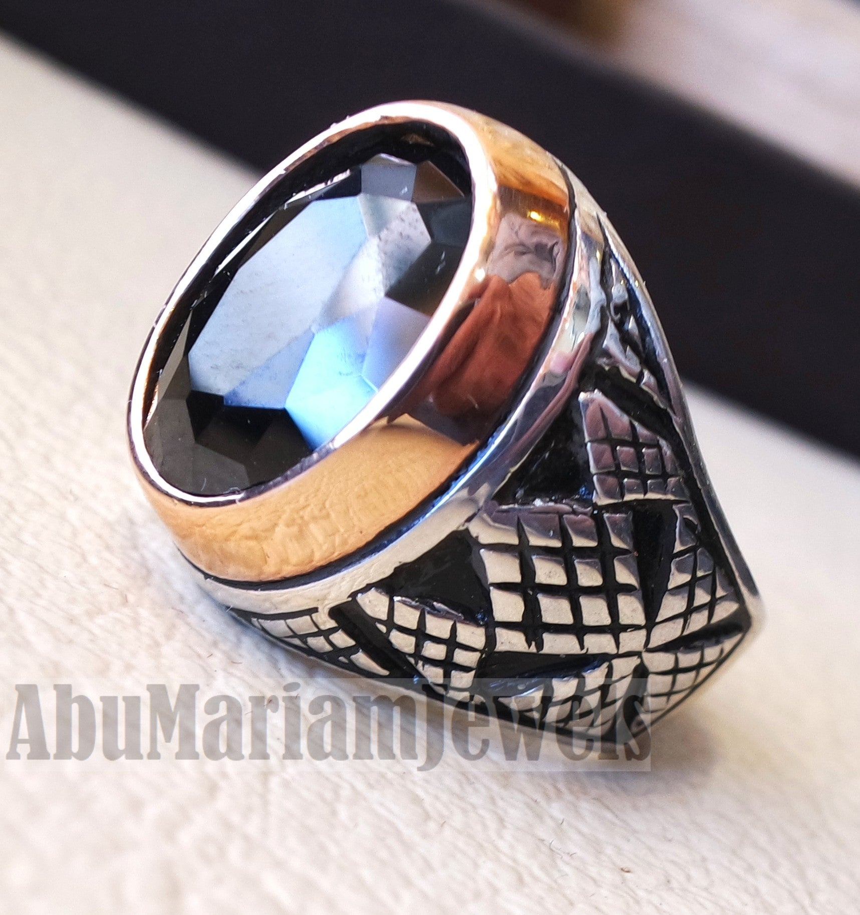 man ring sterling silver 925 and bronze oval black cubic zircon Cz identical to genuine diamond fast shipping all sizes ottoman style