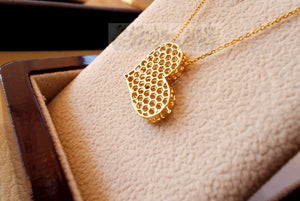 Honeycomb heart 3d 18K yellow gold necklace pendant and chain fine jewelry full insured shipping