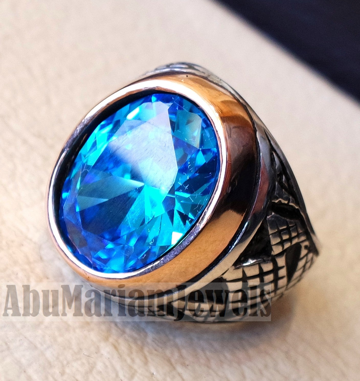 deep vivid sky blue cubic zircon oval 12 x 16 stone highest quality stone sterling silver 925 men ring and bronze frame all sizes jewelry