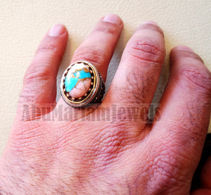 Copper pink Opal Turquoise blue natural stone ring sterling silver 925 men jewelry all sizes semi gem highest quality middle eastern style