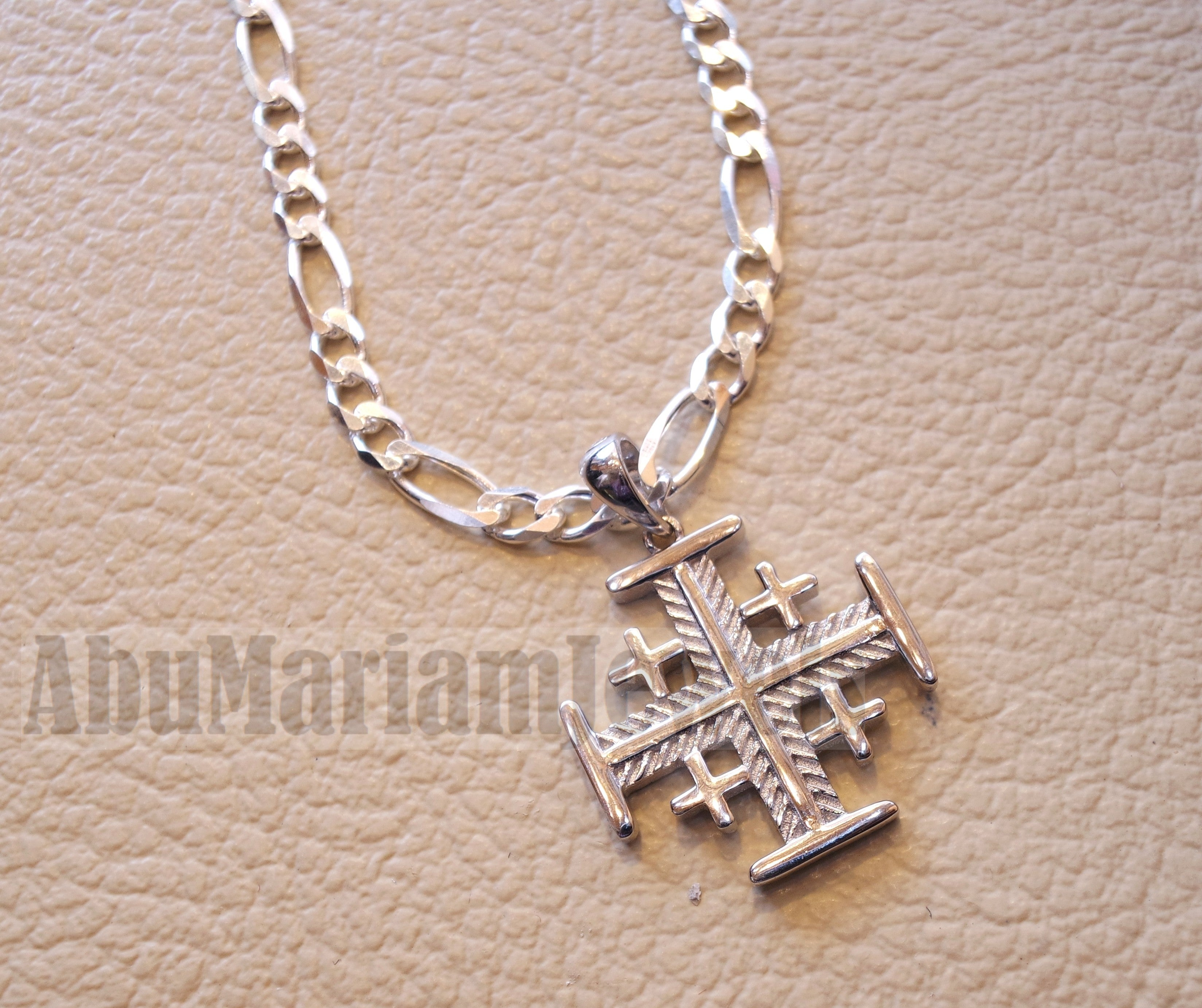 Jerusalem small cross pendant with heavy chain sterling silver 925 middle eastern jewelry christianity vintage handmade heavy fast shipping