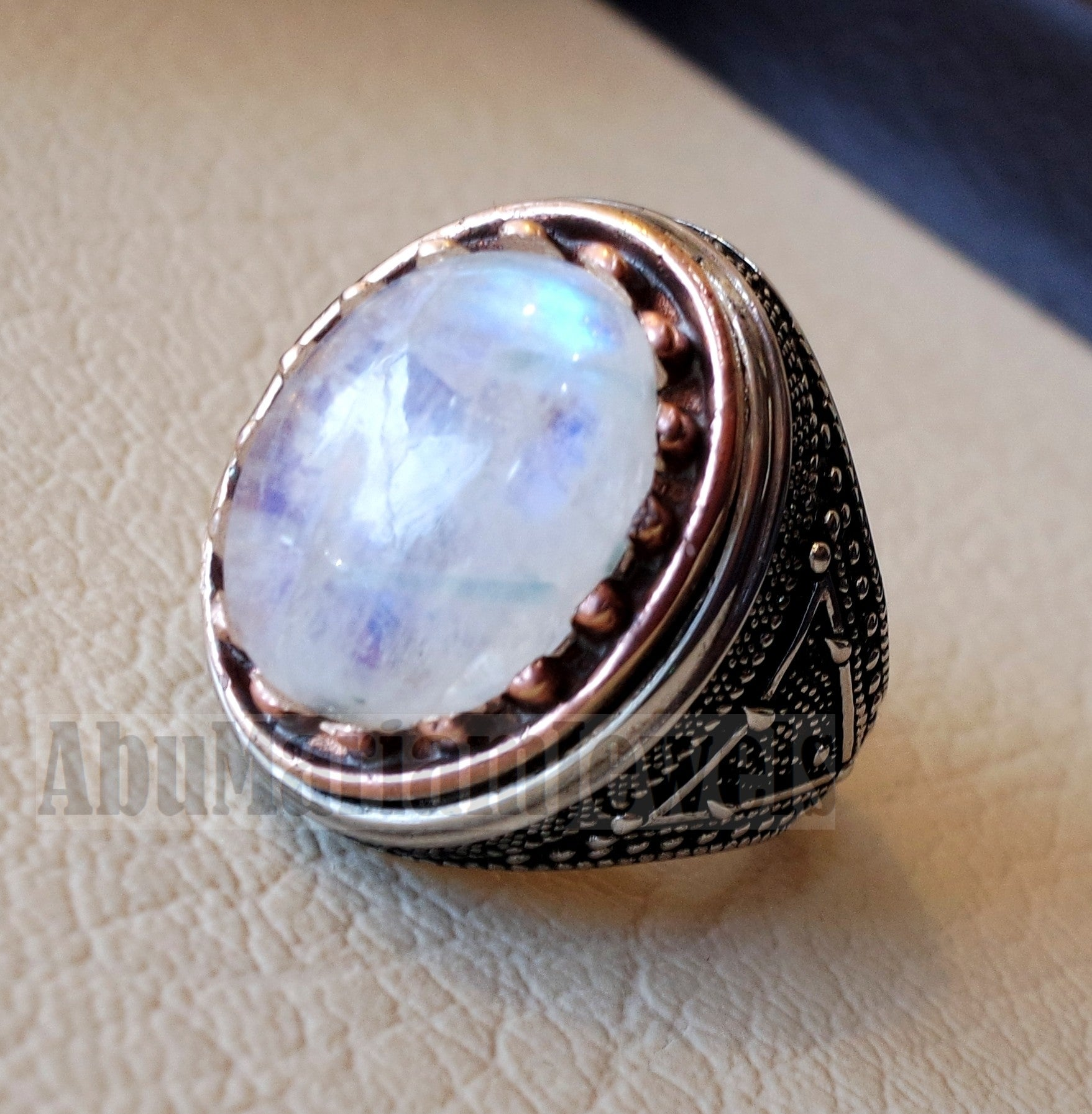 flashy moonstone men ring natural stone dur al najaf sterling silver 925 and bronze stunning genuine gem two ottoman style jewelry all sizes