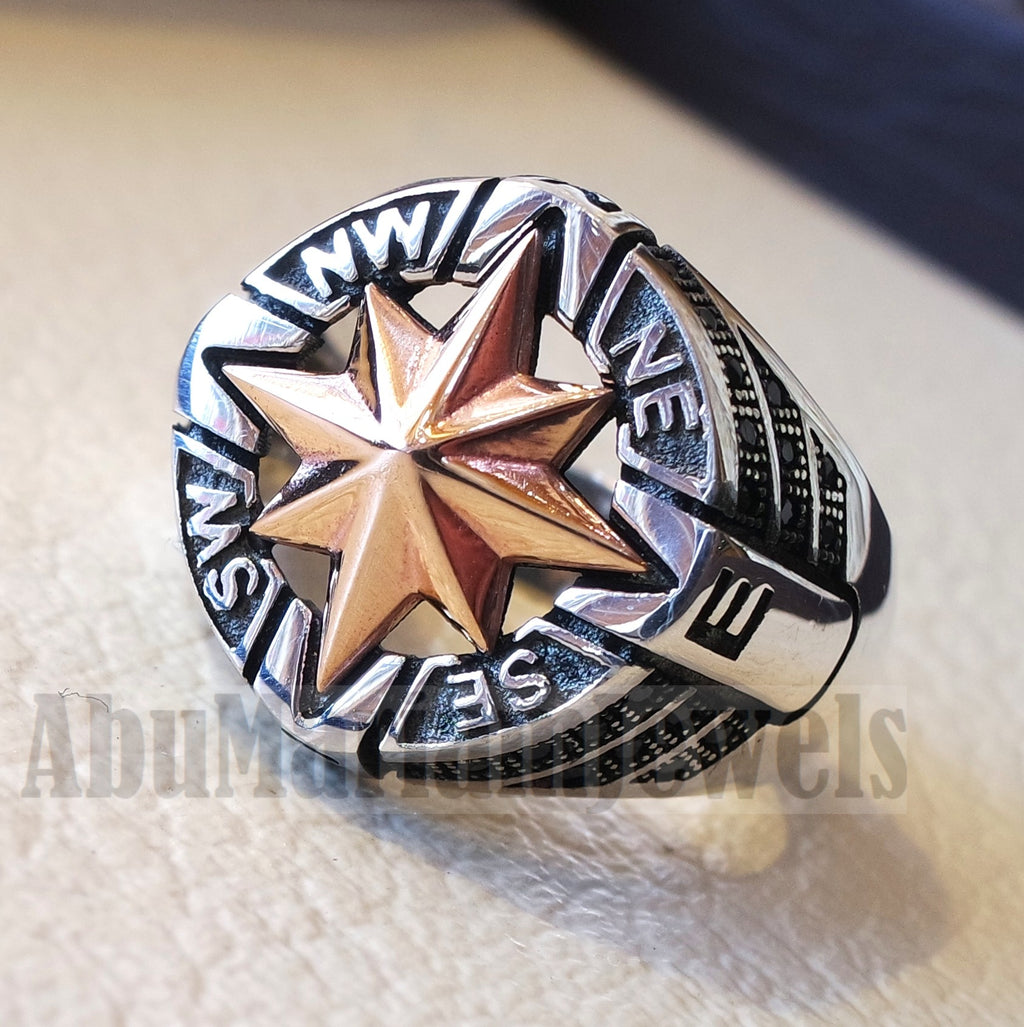 Compass ring sterling silver 925 and bronze and black cubic zirconia east west south north men ring all sizes fast shipping