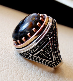 Man ring pietersite natural stunning tempest stone sterling silver 925 and bronze frame oval cabochon multi color gem all sizes jewelry