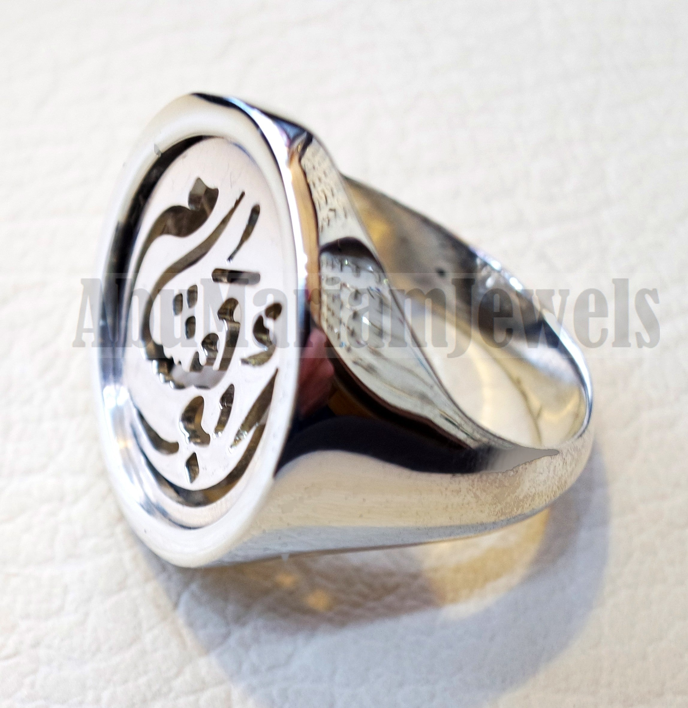 Customized Arabic calligraphy names handmade round heavy ring personalized jewelry sterling silver 925 any size AMM1001 خاتم اسم تفصيل