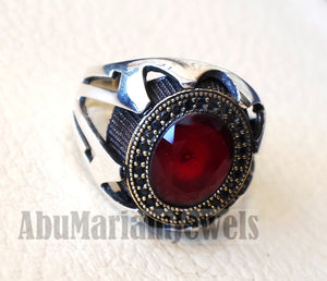 Red corundum identical to genuine ruby stone black cubic zircon on bronze frame stunning sterling silver 925 men ring all sizes