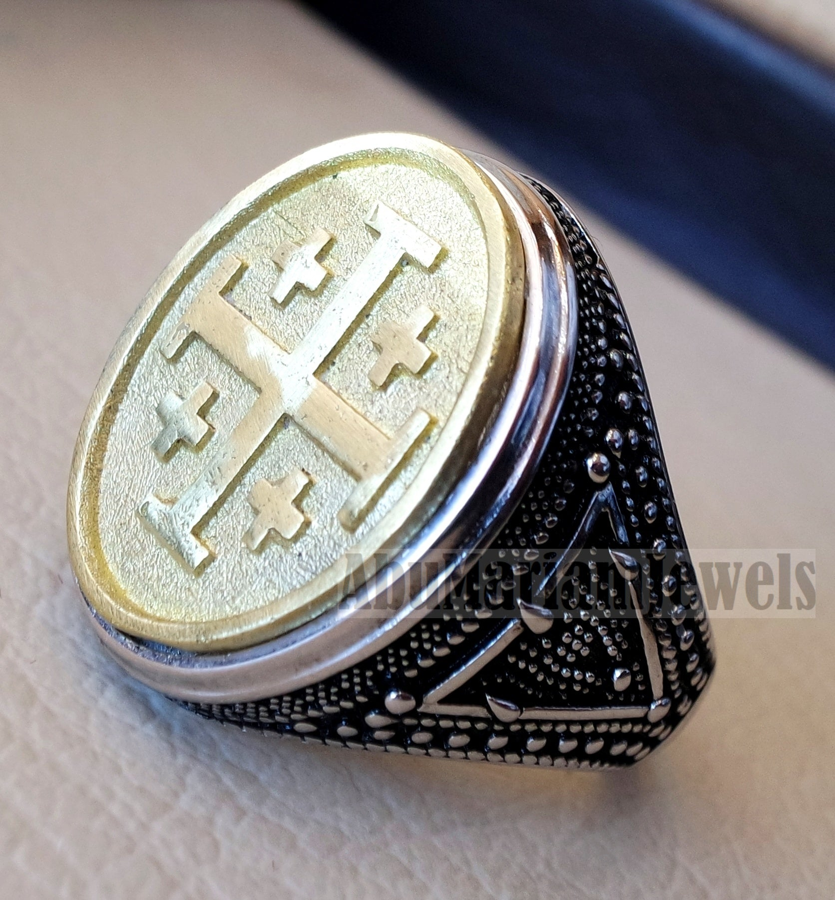 Jerusalem Cross ring christ christian symbol sterling silver 925 and bronze man gift jewelry oval vintage style all sizes Catholic Orthodox