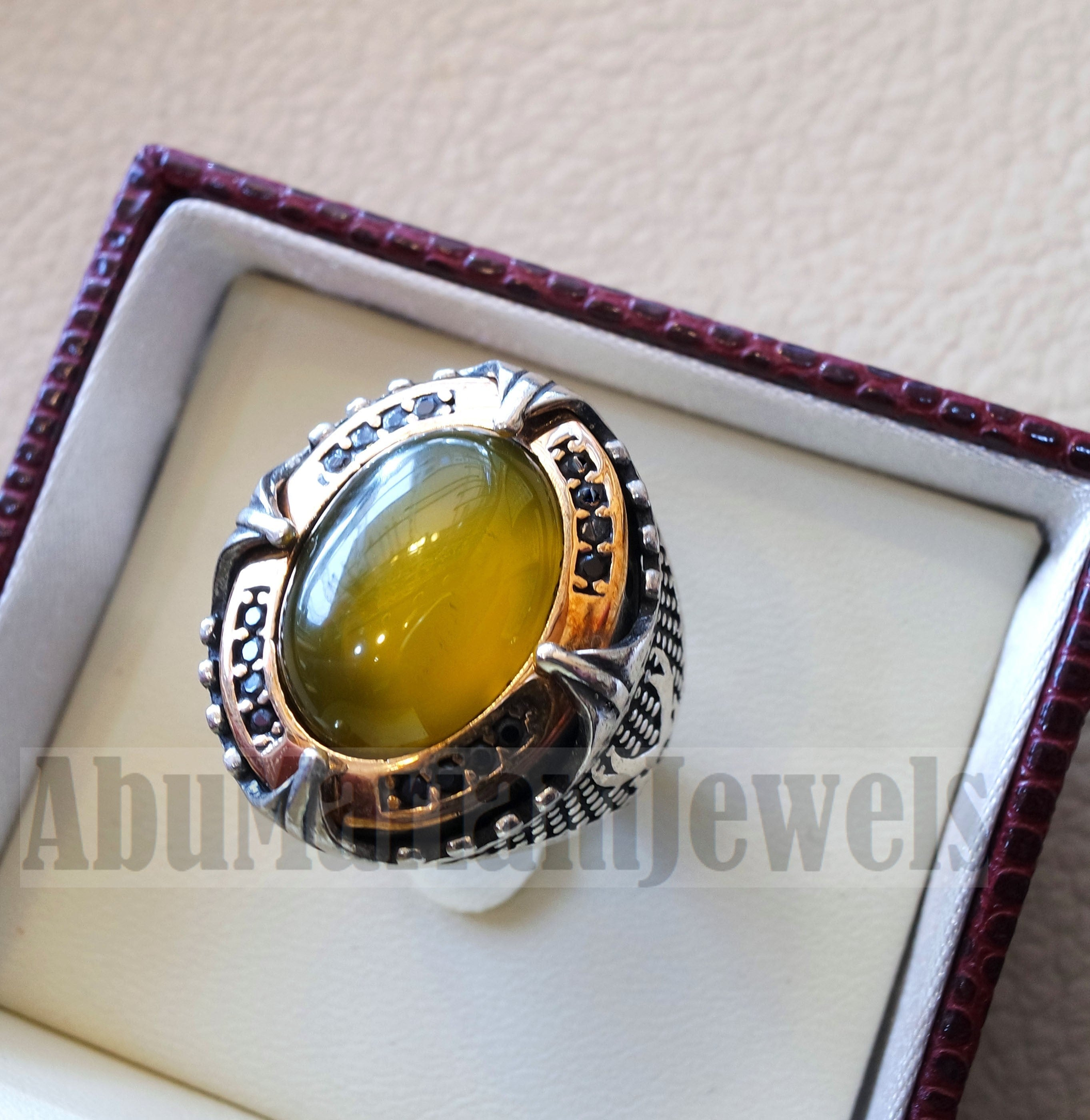 Two swords men ring sterling silver 925 Yellow onyx agate natural stone bronze frame and black cubic zirconia stones all sizes heavy jewelry