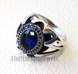 Blue corundum identical to genuine sapphire stone black cubic zircon on bronze frame stunning sterling silver 925 men ring all sizes