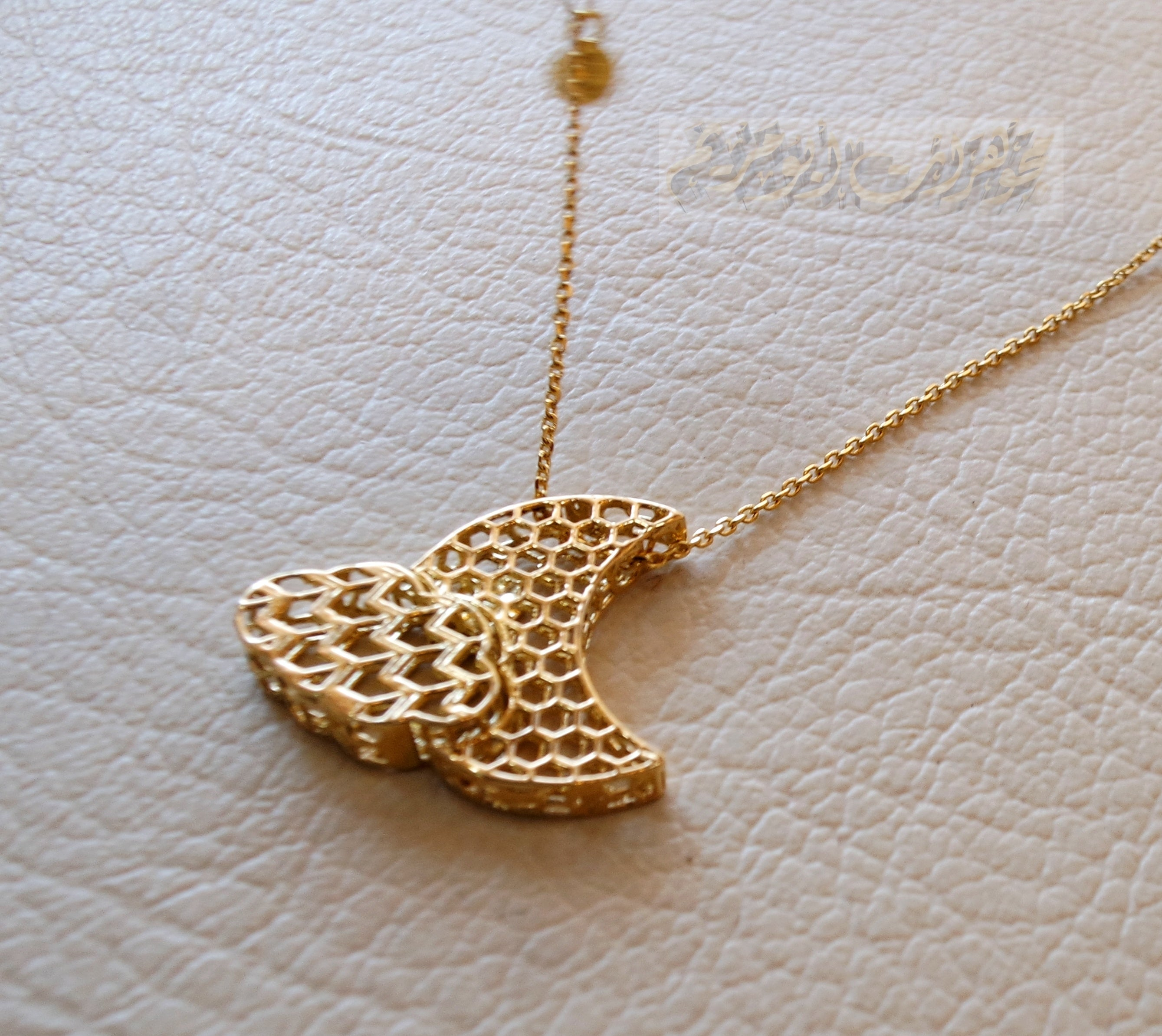Honeycomb moon and cloud 3d 18K yellow gold necklace pendant and chain fine jewelry full insured shipping