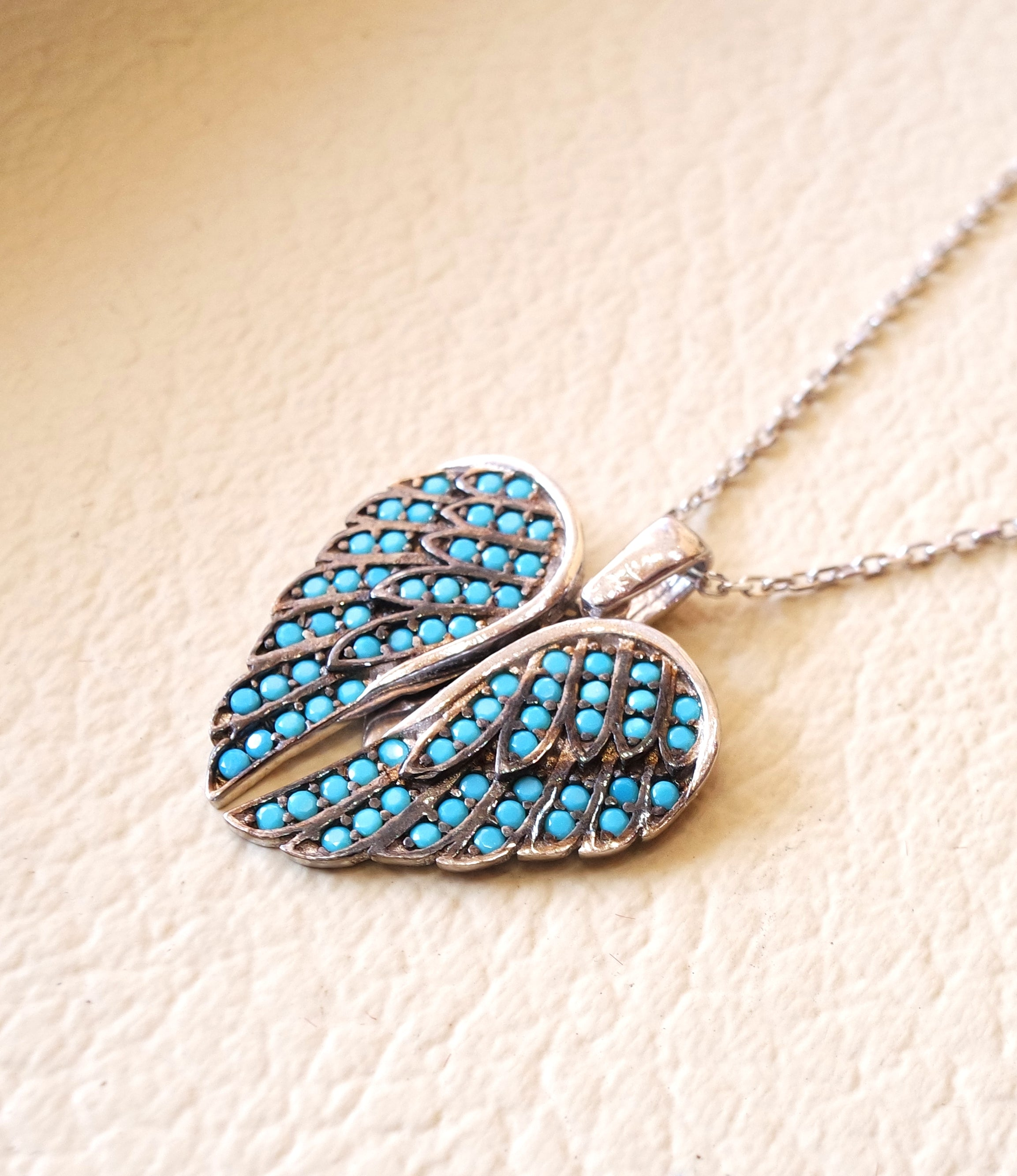 Angel wings heart inside pendant necklace sterling silver 925 nano turquoise micro setting