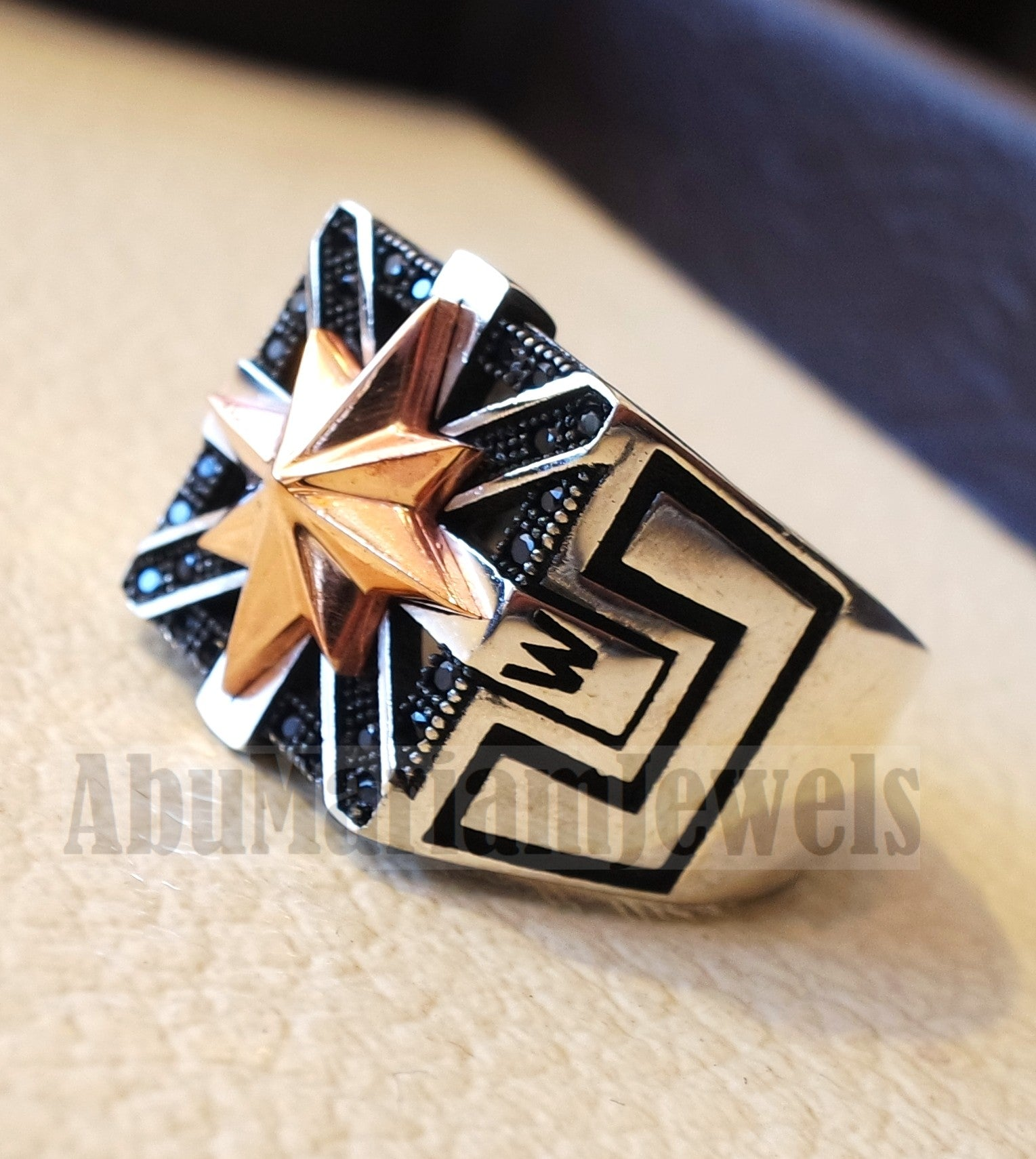 Square Compass ring sterling silver 925 and bronze and black cubic zirconia east west south north men ring all sizes fast shipping
