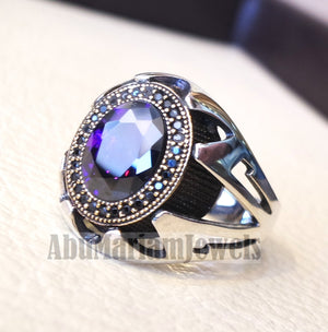 purple CZ  stone and black cubic zircon micro setting on bronze frame stunning sterling silver 925 men ring all sizes