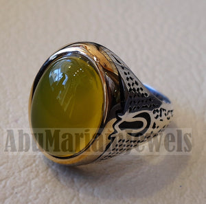 unique heavy man ring yellow agate natural aqeeq stone ottoman arabic sterling silver 925 semi precious gem jewelry all sizes
