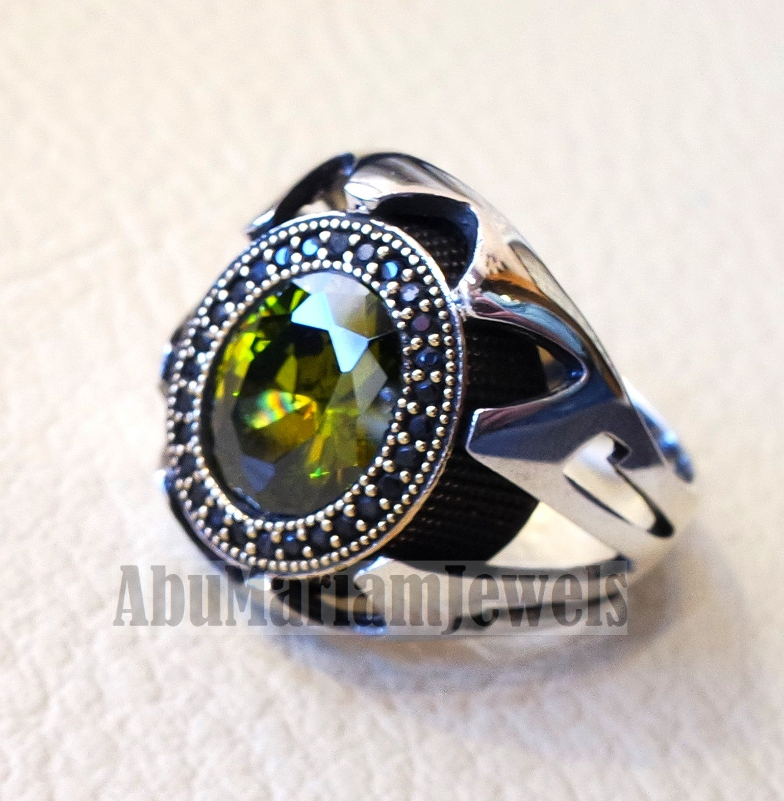 Olive green CZ  stone and black cubic zircon micro setting on bronze frame stunning sterling silver 925 men ring all sizes