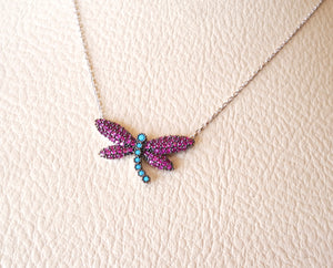 Colorful butterfly cubic zircon ruby and turquoise red and blue colors sterling silver 925 necklace and pendant