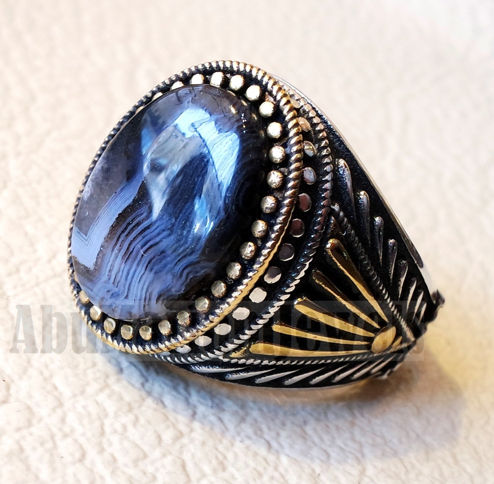 oval yamani aqeeq natural semi precious multi color agate gemstone men ring sterling silver 925 and bronze jewelry sizes 1008 عقيق يماني