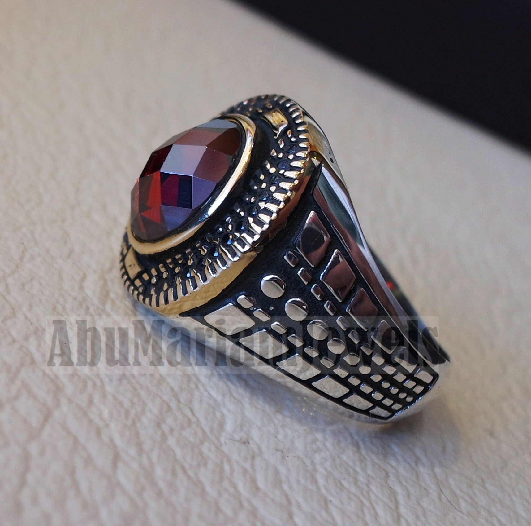 deep red ruby round synthetic imitation stone men ring sterling silver 925 bronze and black cubic zircon any size jewelry identical to genuine gemstone antique style