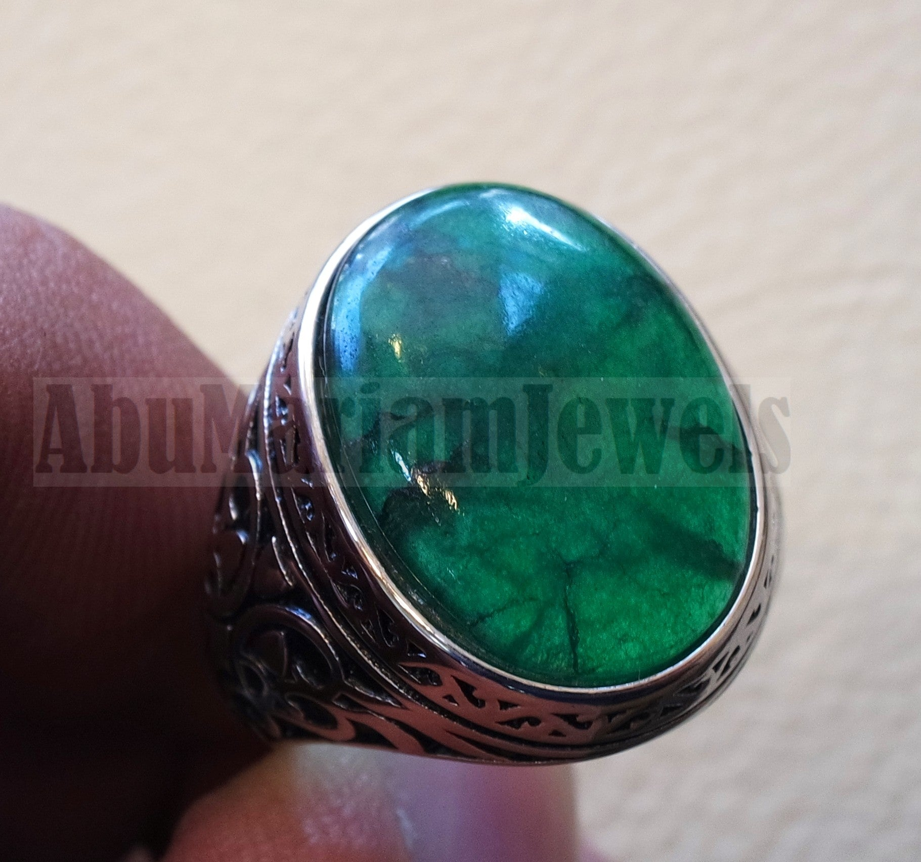 Treated natural corundum identical to genuine emerald stone color huge men ring sterling silver 925 any size ottoman jewelry زمرد