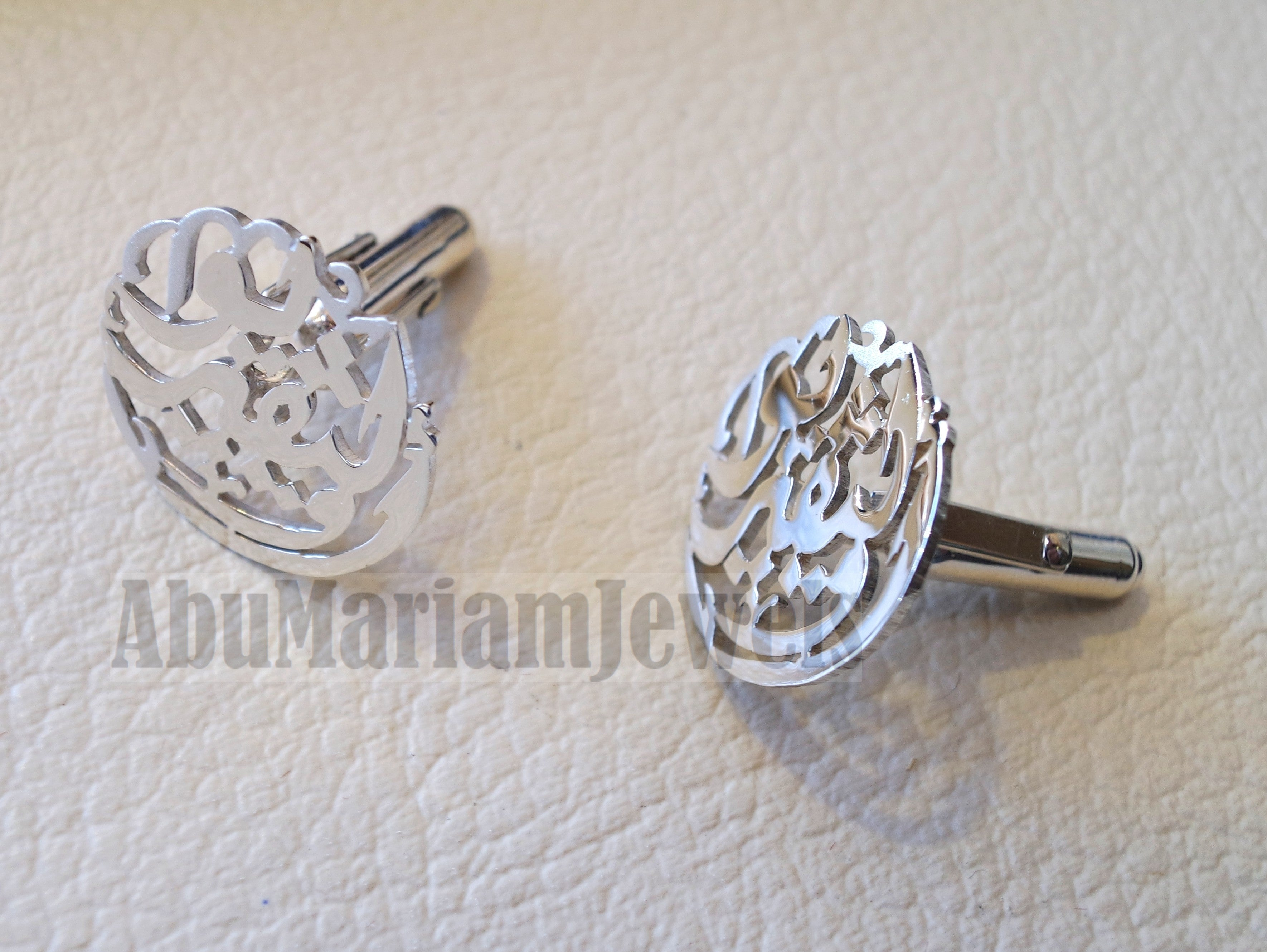 cufflinks , cuflinks 2 words on piece calligraphy arabic customized any name made to order sterling silver 925 heavy men jewelry عربي CF11
