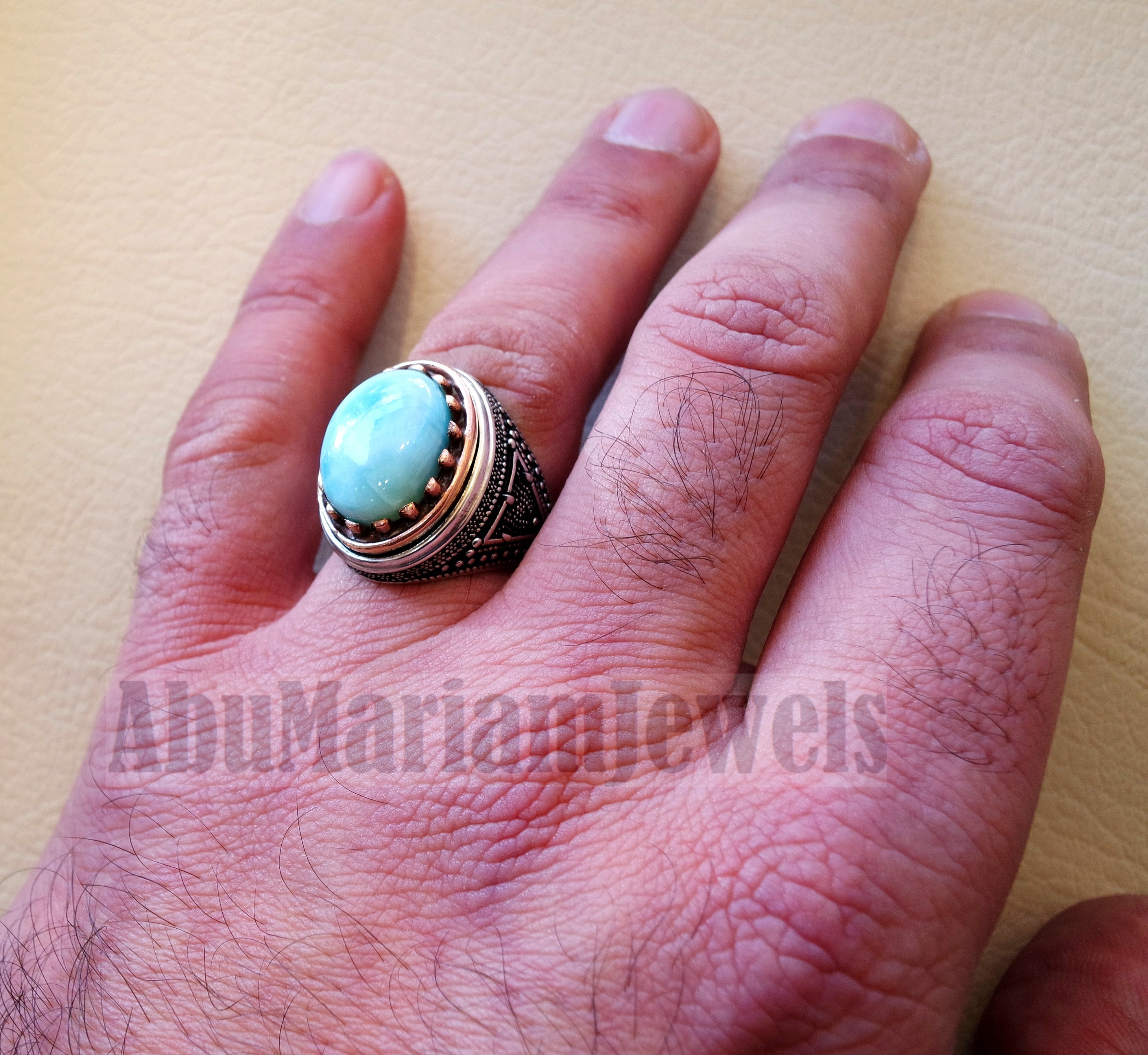 Dominican larimar blue natural stone ring sterling silver 925 and bronze frame men jewelry all sizes gem high quality middle eastern style