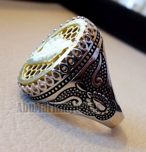 Syria map man ring sterling silver and bronze arabic middle eastern turkey oriental antique style 2 fast shipping all sizes خاتم سوريا