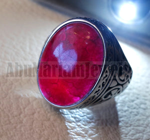 Treated natural red corundum identical to genuine ruby stone color huge men ring sterling silver 925 any size ottoman jewelry ياقوت